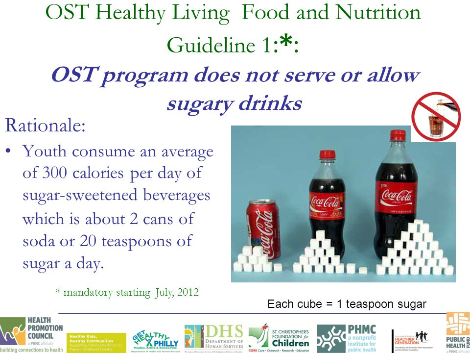 OST Healthy Living Food and Nutrition Guideline 1 :*: OST program does not serve or allow sugary drinks Rationale: Youth consume an average of 300 cal