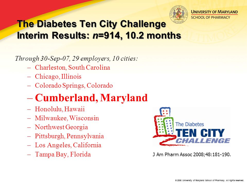 © 2006 University of Maryland School of Pharmacy. All rights reserved. The Diabetes Ten City Challenge Interim Results: n=914, 10.2 months Through 30-