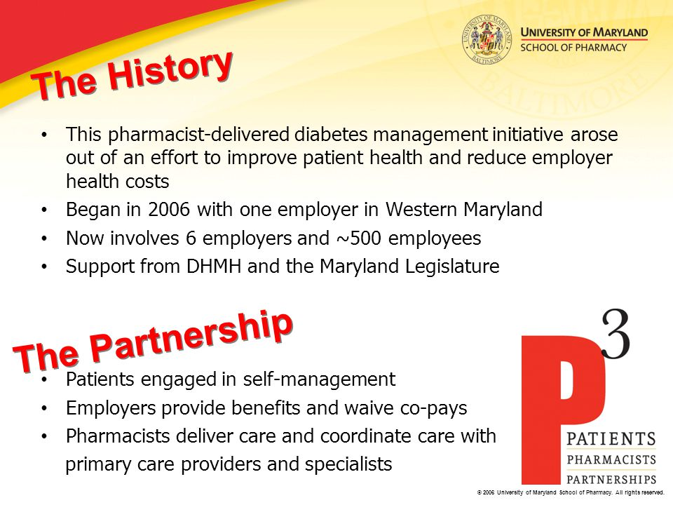 © 2006 University of Maryland School of Pharmacy. All rights reserved. This pharmacist-delivered diabetes management initiative arose out of an effort