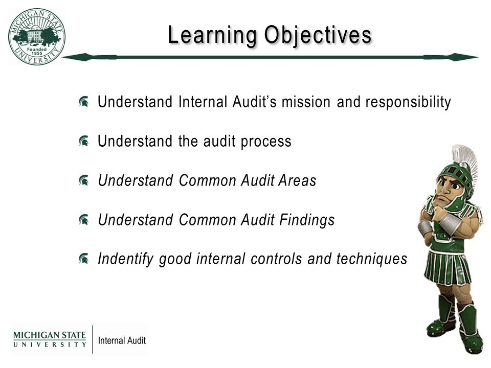 Learning Objectives Understand Internal Audit's mission and responsibility Understand the audit process Understand Common Audit Areas Understand Common Audit Findings Indentify good internal controls and techniques