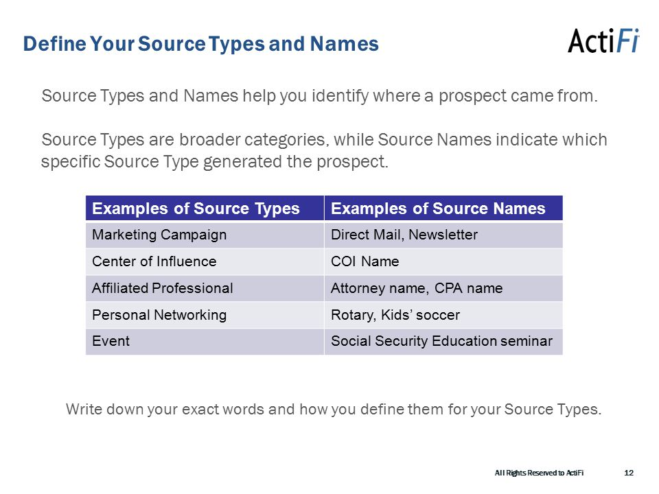 Define Your Source Types and Names Source Types and Names help you identify where a prospect came from.
