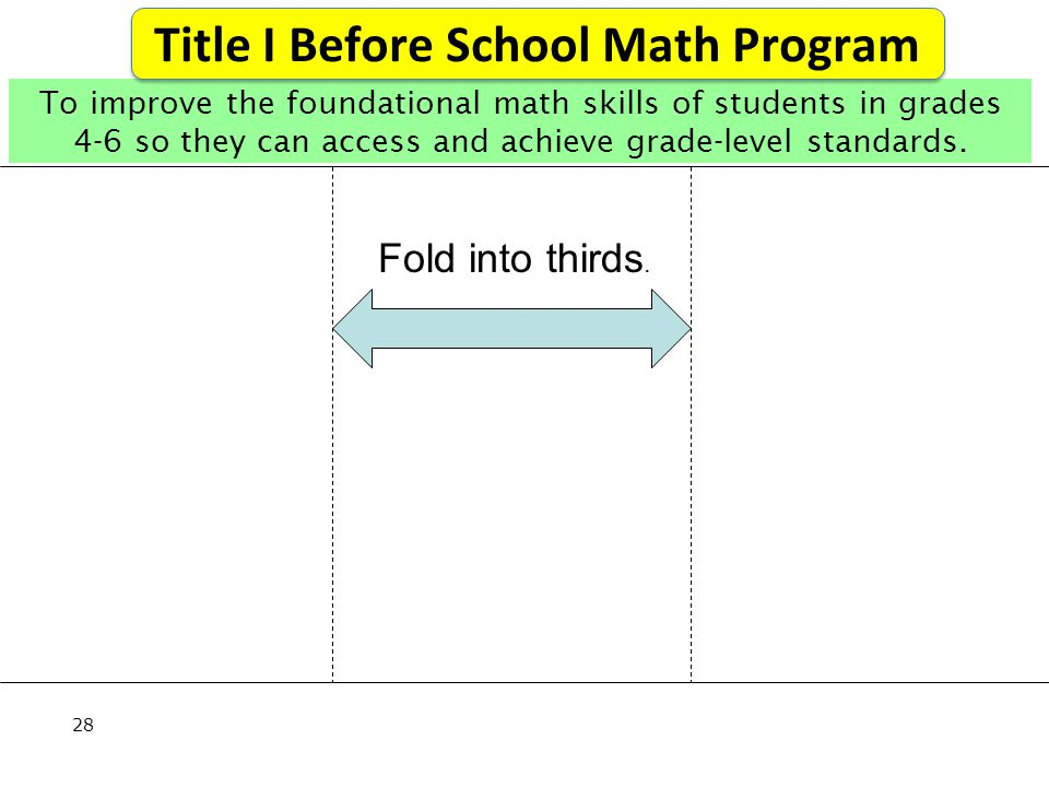 28 To improve the foundational math skills of students in grades 4-6 so they can access and achieve grade-level standards.