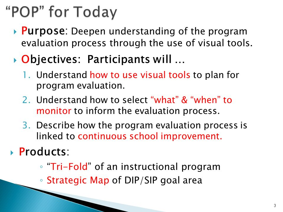  Purpose: Deepen understanding of the program evaluation process through the use of visual tools.