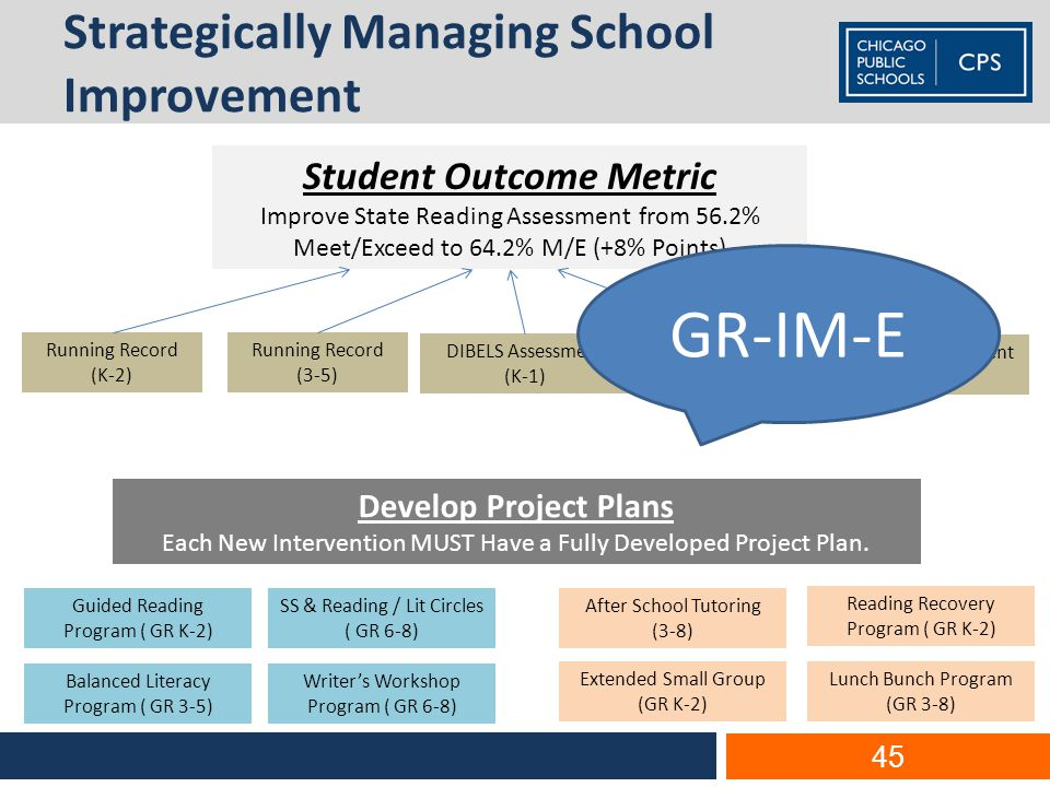 Strategically Managing School Improvement 45 Student Outcome Metric Improve State Reading Assessment from 56.2% Meet/Exceed to 64.2% M/E (+8% Points) Reading Recovery Program ( GR K-2) After School Tutoring (3-8) Balanced Literacy Program ( GR 3-5) Extended Small Group (GR K-2) SS & Reading / Lit Circles ( GR 6-8) Guided Reading Program ( GR K-2) Lunch Bunch Program (GR 3-8) Writer's Workshop Program ( GR 6-8) Running Record (K-2) Running Record (3-5) Interim Assessment (3-5) Interim Assessment (6-8) DIBELS Assessment (K-1) Develop Project Plans Each New Intervention MUST Have a Fully Developed Project Plan.