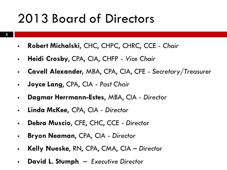 2013 Board of Directors  Robert Michalski, CHC, CHPC, CHRC, CCE - Chair  Heidi Crosby, CPA, CIA, CHFP - Vice Chair  Cavell Alexander, MBA, CPA, CIA, CFE - Secretary/Treasurer  Joyce Lang, CPA, CIA - Past Chair  Dagmar Herrmann-Estes, MBA, CIA - Director  Linda McKee, CPA, CIA - Director  Debra Muscio, CFE, CHC, CCE - Director  Bryon Neaman, CPA, CIA - Director  Kelly Nueske, RN, CPA, CMA, CIA – Director  David L.