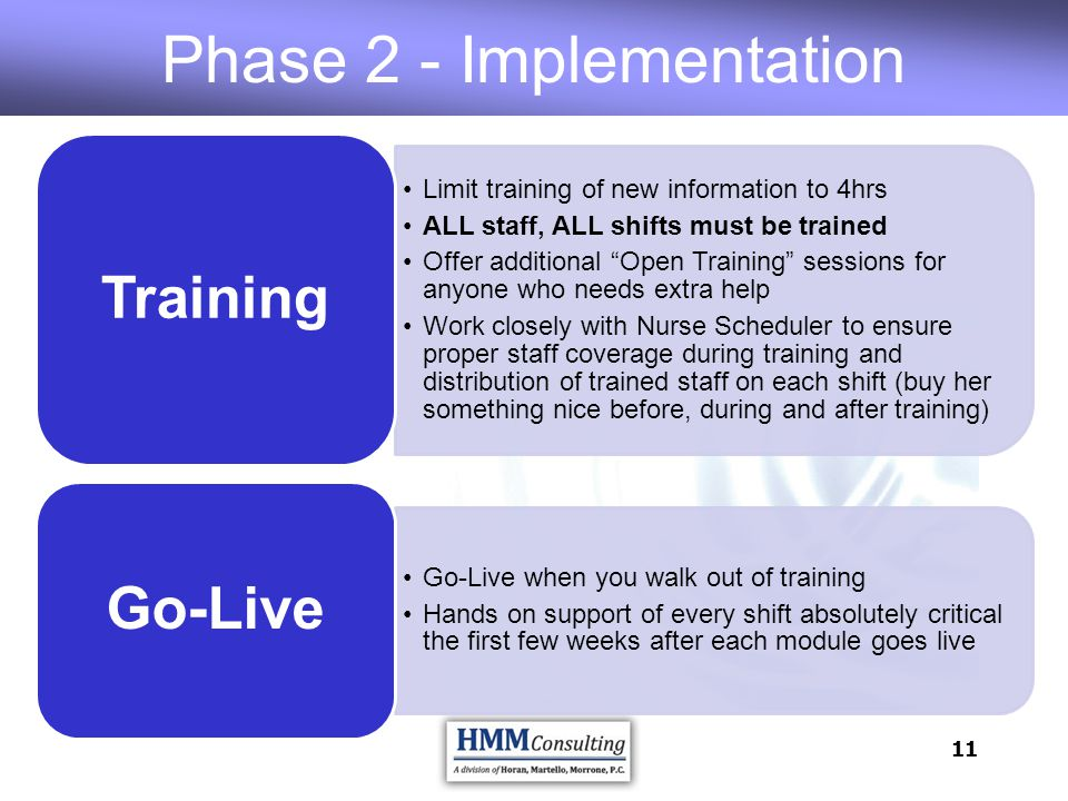 "11 Limit training of new information to 4hrs ALL staff, ALL shifts must be trained Offer additional ""Open Training"" sessions for anyone who needs extr"