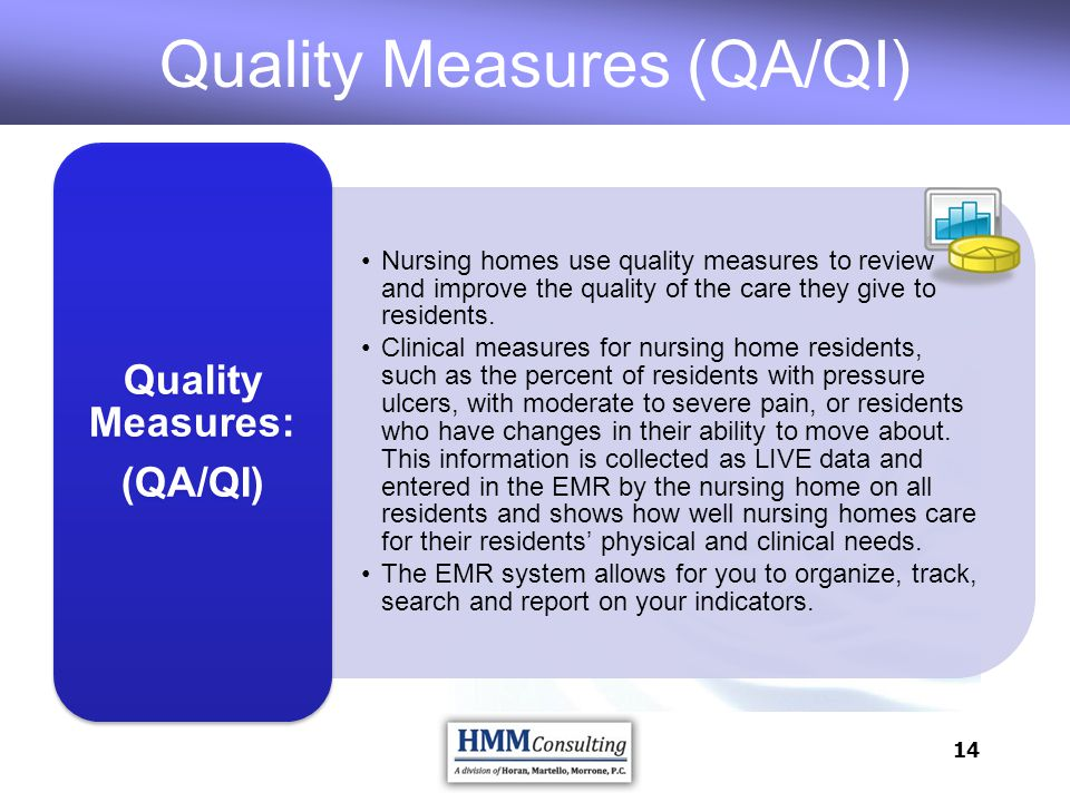 14 Nursing homes use quality measures to review and improve the quality of the care they give to residents. Clinical measures for nursing home residen