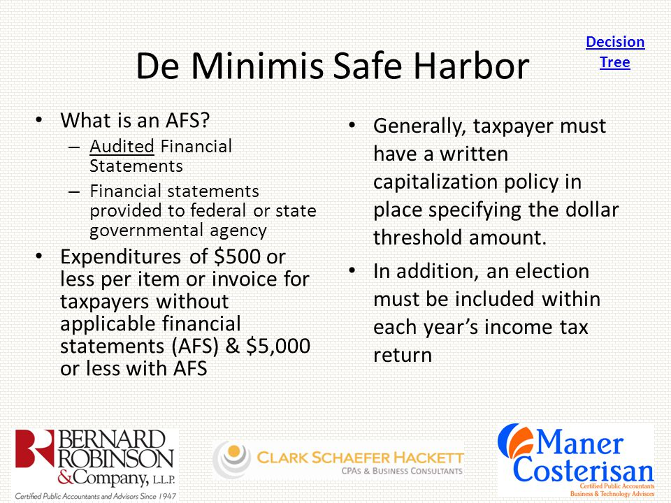 De Minimis Safe Harbor What is an AFS.