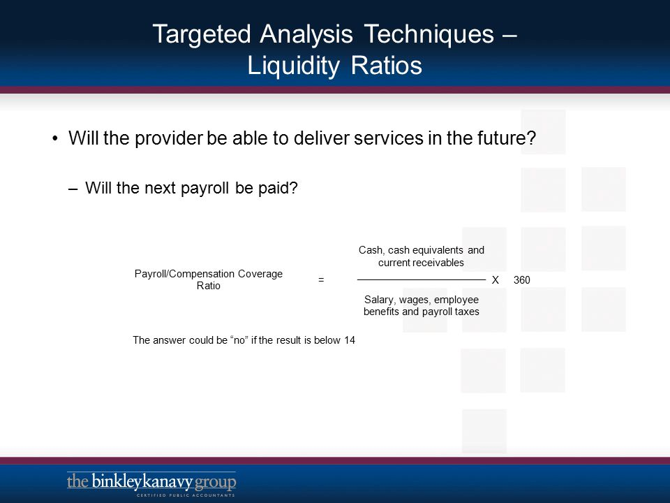 Targeted Analysis Techniques – Liquidity Ratios –Can a payment or budget approval delay be weathered.