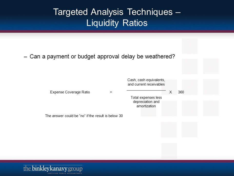 Targeted Analysis Techniques – Liquidity Ratios –Can a payment or budget approval delay be weathered? Expense Coverage Ratio= Cash, cash equivalents,