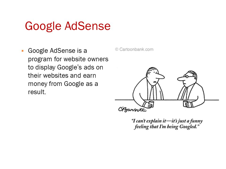 Google AdSense  Google AdSense is a program for website owners to display Google's ads on their websites and earn money from Google as a result.