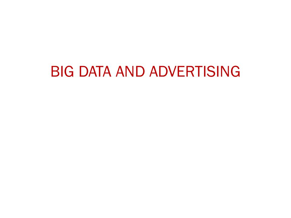 BIG DATA AND ADVERTISING