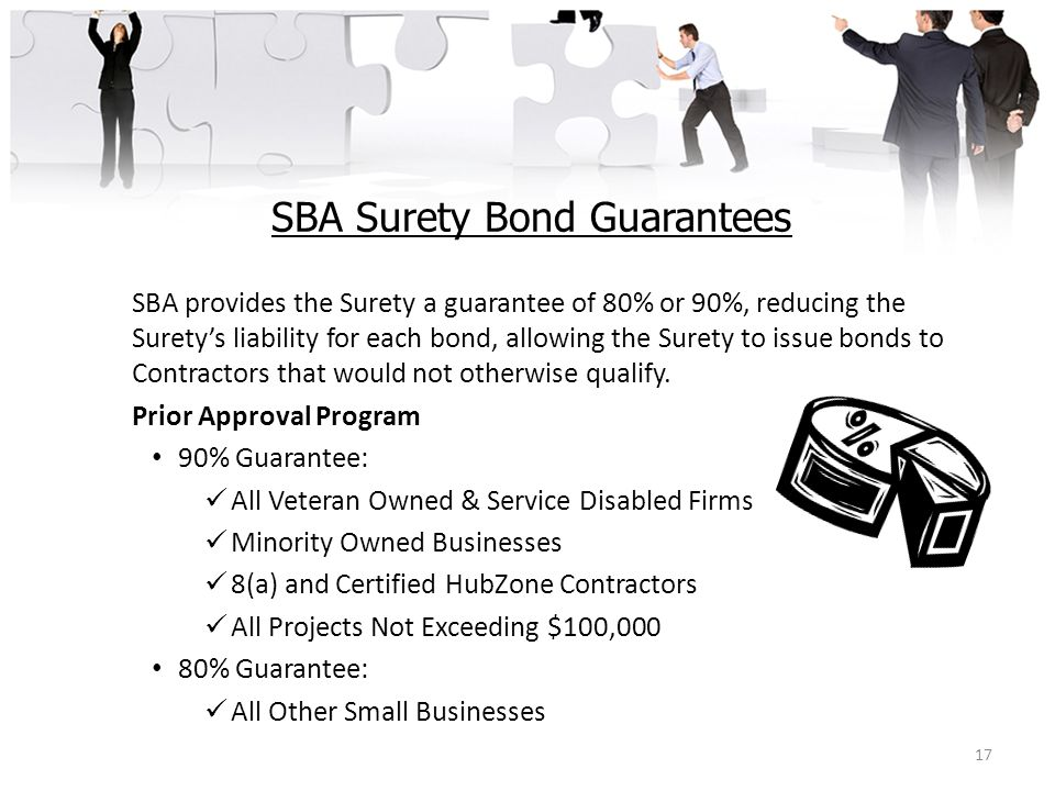SBA Surety Bond Guarantees SBA provides the Surety a guarantee of 80% or 90%, reducing the Surety's liability for each bond, allowing the Surety to is