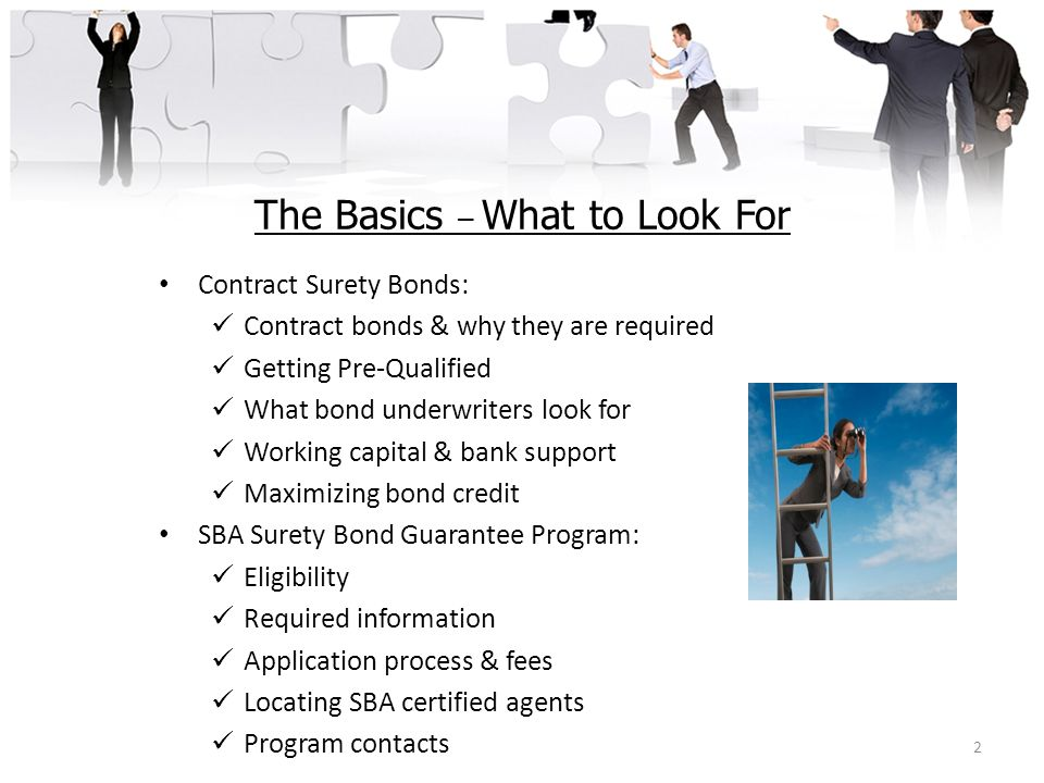 The Basics – What to Look For Contract Surety Bonds: Contract bonds & why they are required Getting Pre-Qualified What bond underwriters look for Work