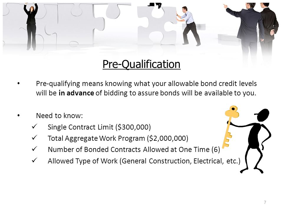 Pre-Qualification Pre-qualifying means knowing what your allowable bond credit levels will be in advance of bidding to assure bonds will be available