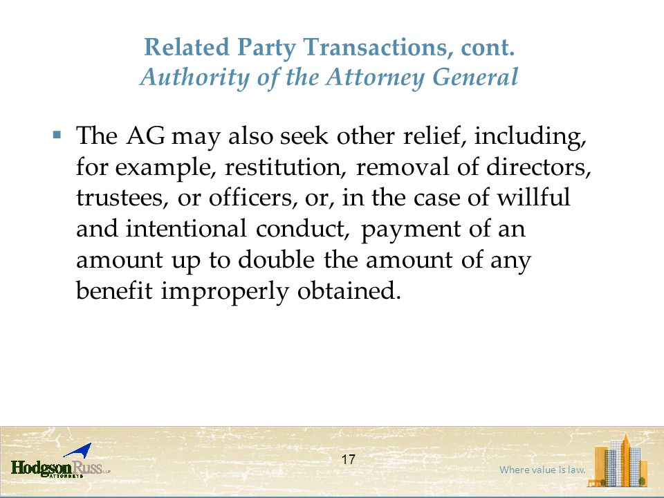 Where value is law.Related Party Transactions, cont.