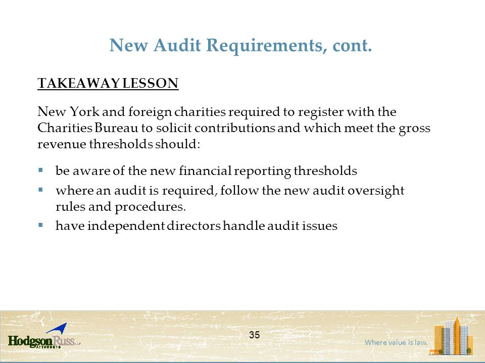 Where value is law. TAKEAWAY LESSON New York and foreign charities required to register with the Charities Bureau to solicit contributions and which m