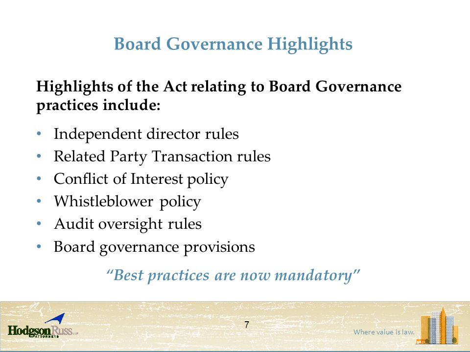 Where value is law. Board Governance Highlights Highlights of the Act relating to Board Governance practices include: Independent director rules Relat