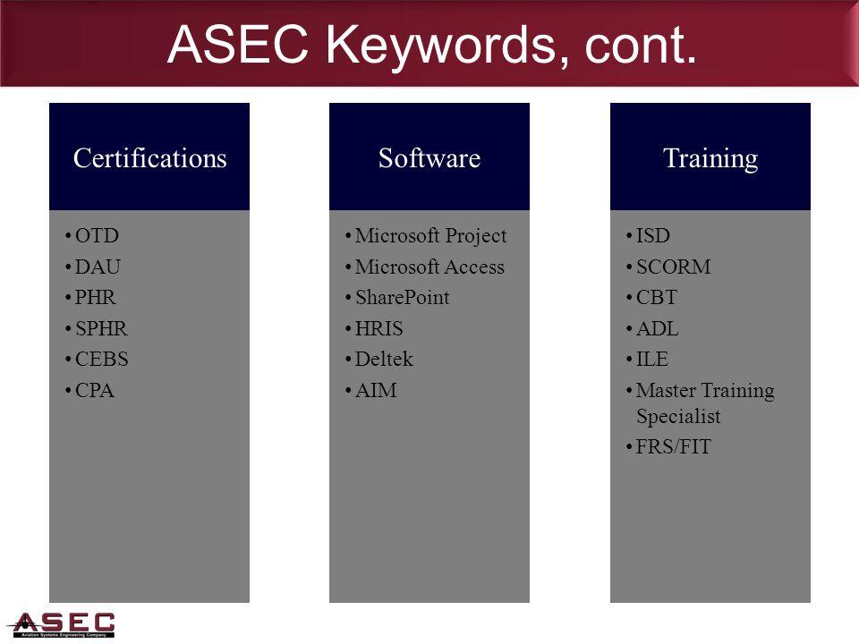 ASEC Keywords, cont.
