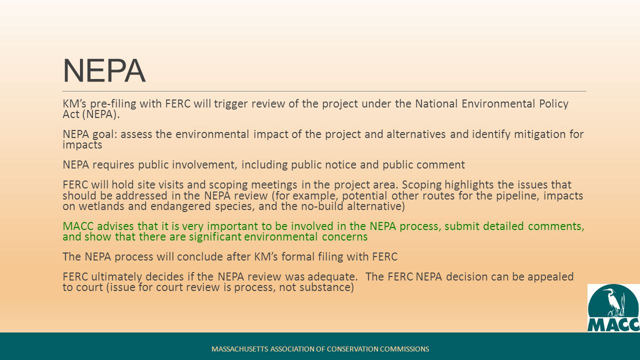 NEPA Environmental Impact Statement MASSACHUSETTS ASSOCIATION OF CONSERVATION COMMISSIONS