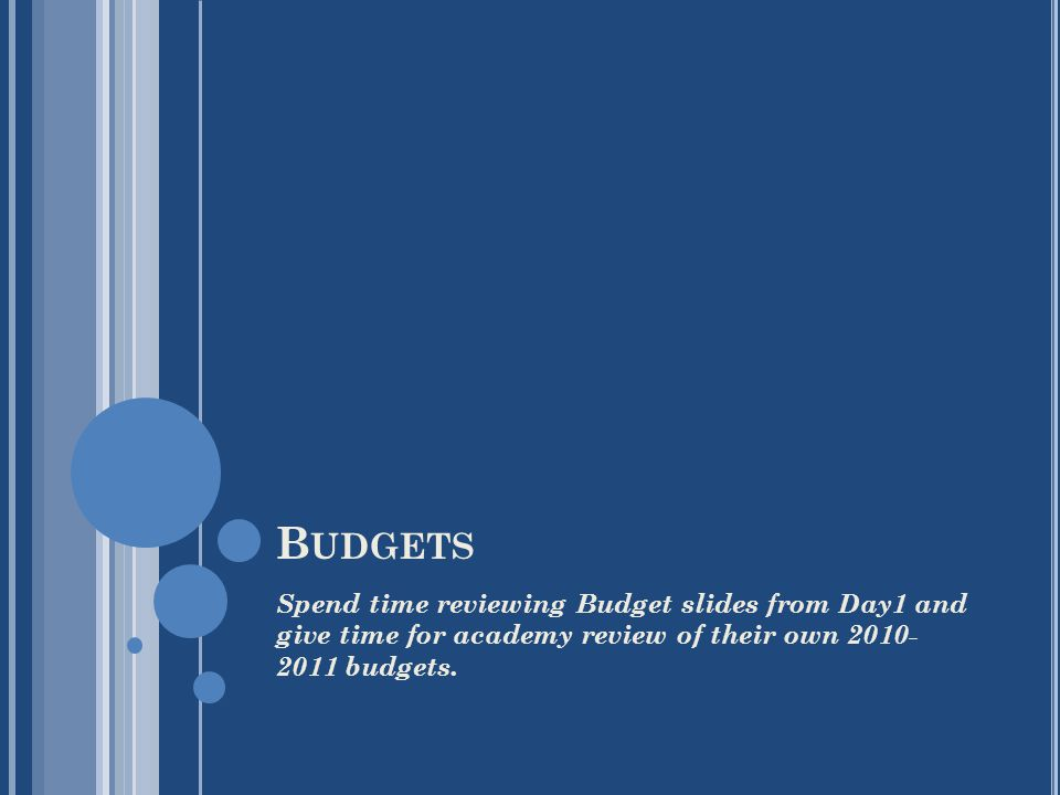 B UDGETS Spend time reviewing Budget slides from Day1 and give time for academy review of their own 2010- 2011 budgets.