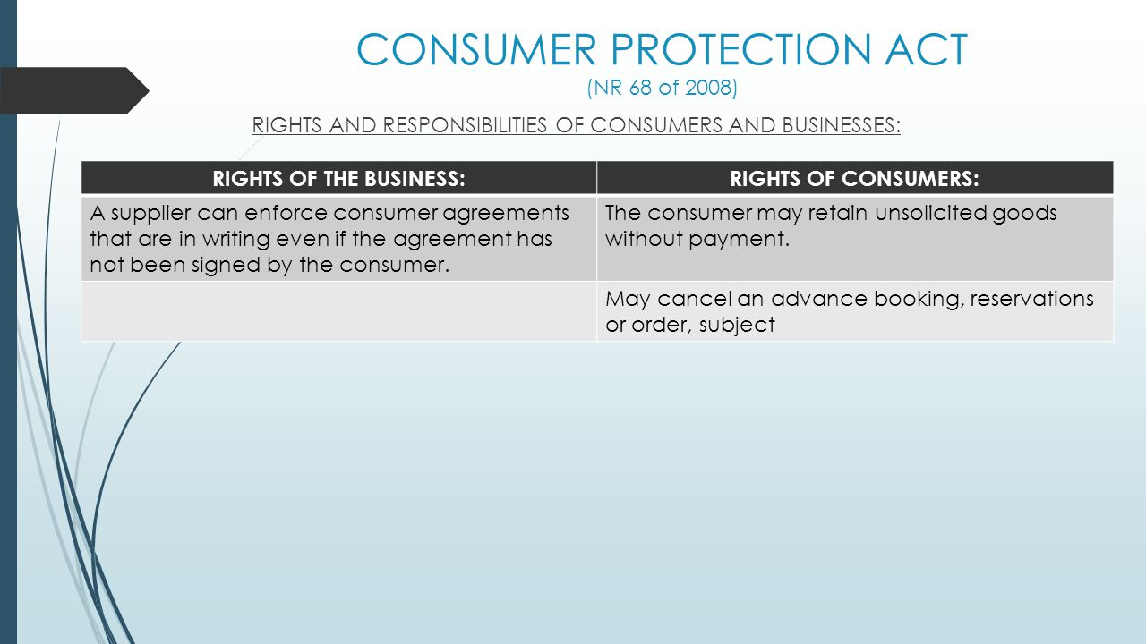 CONSUMER PROTECTION ACT (NR 68 of 2008) RIGHTS AND RESPONSIBILITIES OF CONSUMERS AND BUSINESSES: RIGHTS OF THE BUSINESS:RIGHTS OF CONSUMERS: A supplie