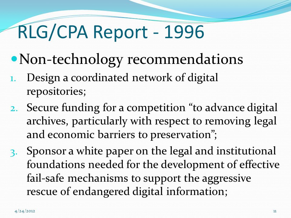 RLG/CPA Report - 1996 Non-technology recommendations 1.