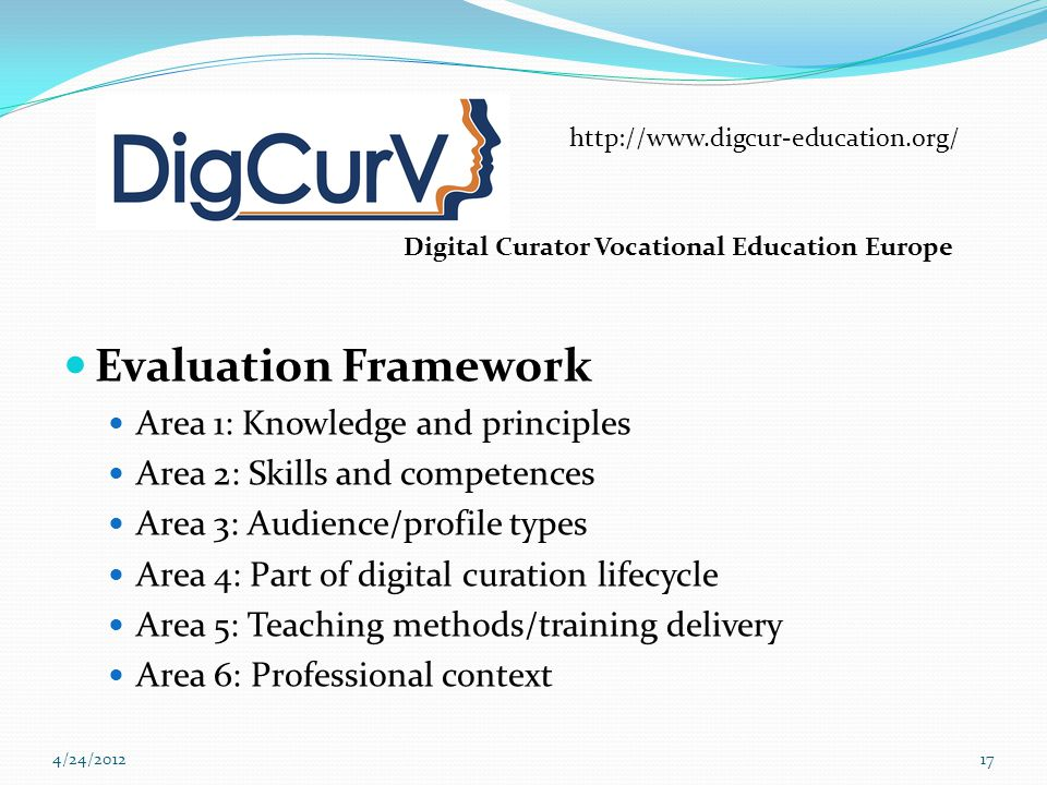 Evaluation Framework Area 1: Knowledge and principles Area 2: Skills and competences Area 3: Audience/profile types Area 4: Part of digital curation lifecycle Area 5: Teaching methods/training delivery Area 6: Professional context 4/24/201217 http://www.digcur-education.org/ Digital Curator Vocational Education Europe