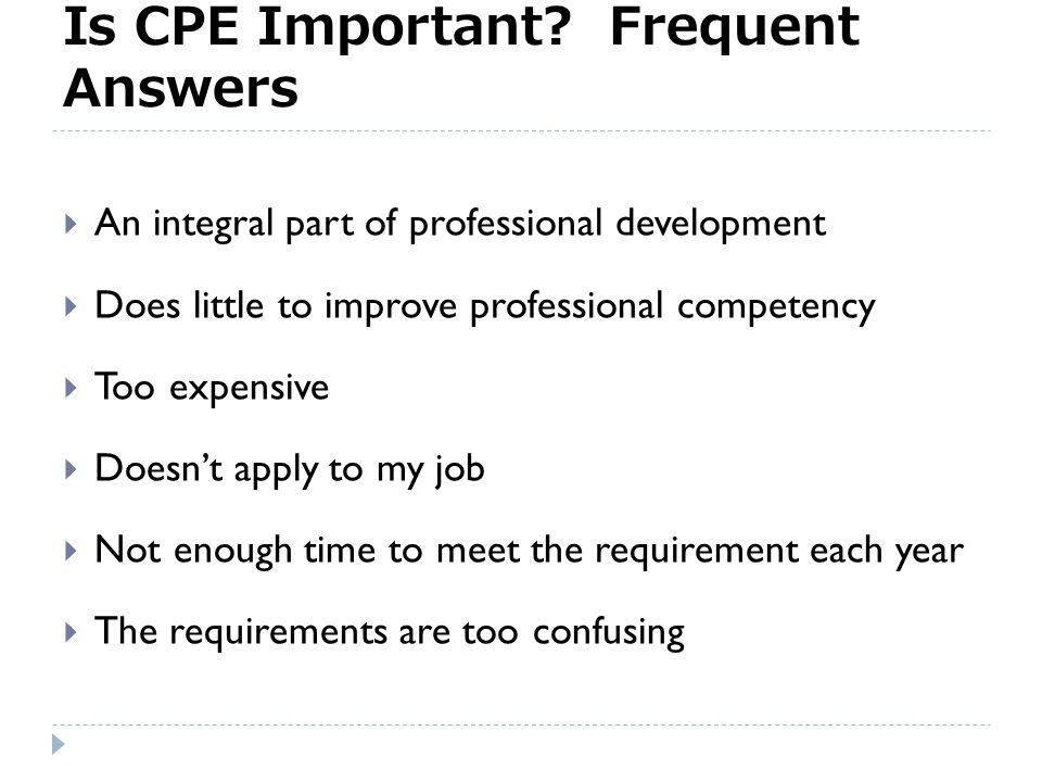 Time for an obvious question Is CPE important?