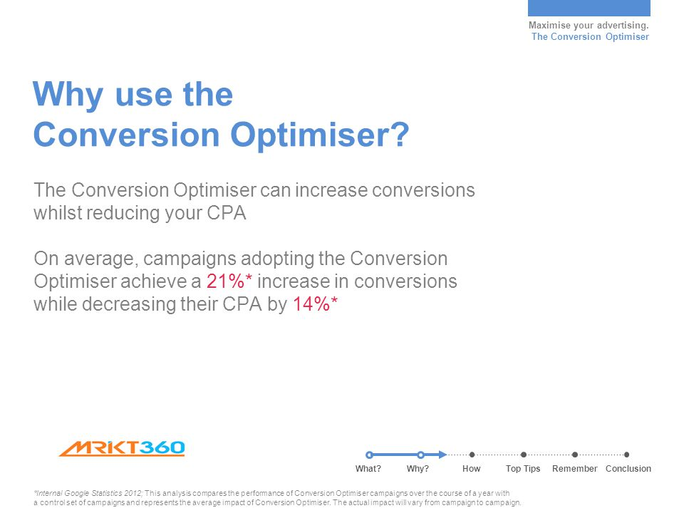 Maximise your advertising. The Conversion Optimiser Why use the Conversion Optimiser? The Conversion Optimiser can increase conversions whilst reducin