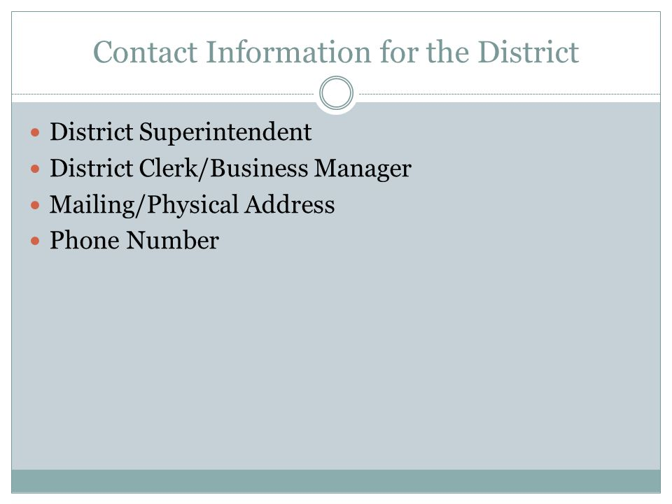 Contact Information for the District District Superintendent District Clerk/Business Manager Mailing/Physical Address Phone Number