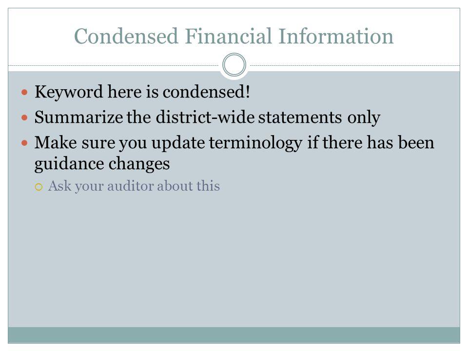 Condensed Financial Information Statement of Net Position