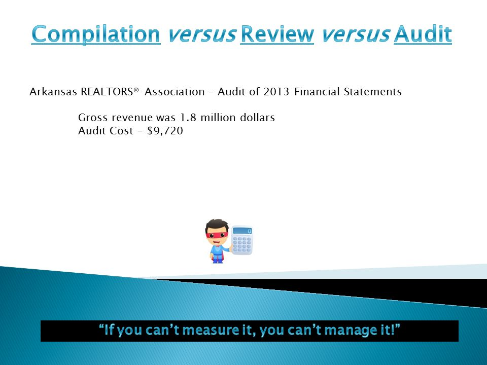 Arkansas REALTORS® Association – Audit of 2013 Financial Statements Gross revenue was 1.8 million dollars Audit Cost - $9,720