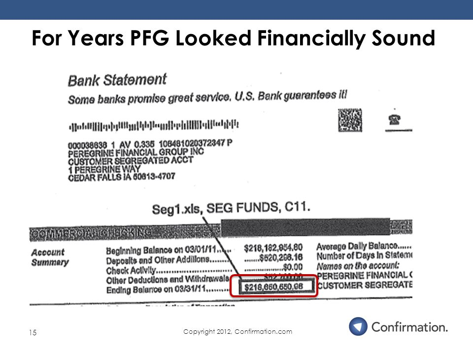 15 For Years PFG Looked Financially Sound Copyright 2012, Confirmation.com