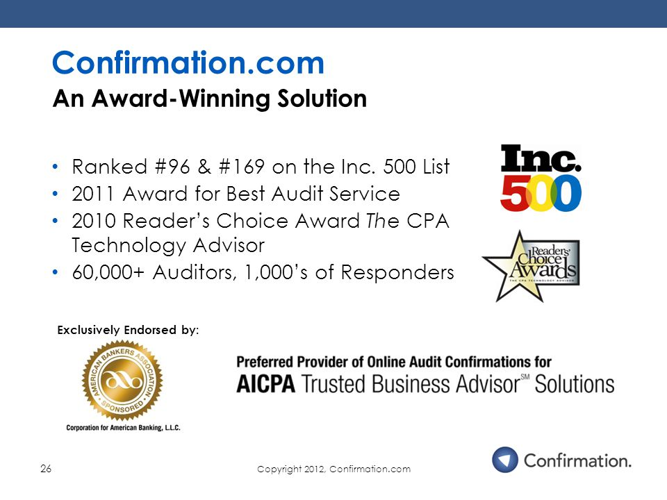 Copyright 2012, Confirmation.com 26 Ranked #96 & #169 on the Inc.