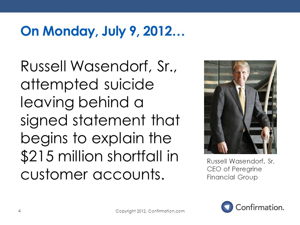 Copyright 2012, Confirmation.com 4 On Monday, July 9, 2012… Russell Wasendorf, Sr.