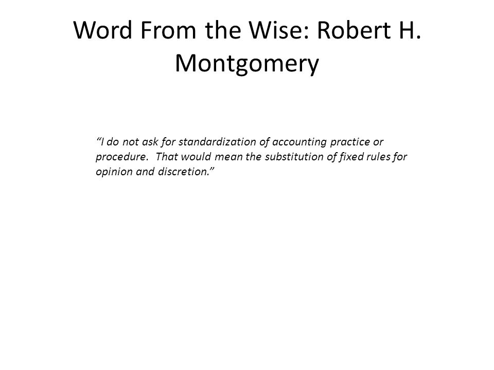 Word From the Wise: Robert H.