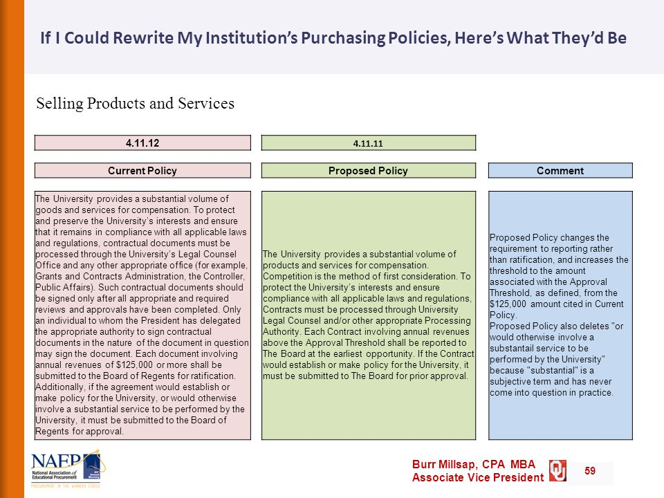 Burr Millsap, CPA MBA Associate Vice President If I Could Rewrite My Institution's Purchasing Policies, Here's What They'd Be 59 Current PolicyProposed PolicyComment The University provides a substantial volume of goods and services for compensation.
