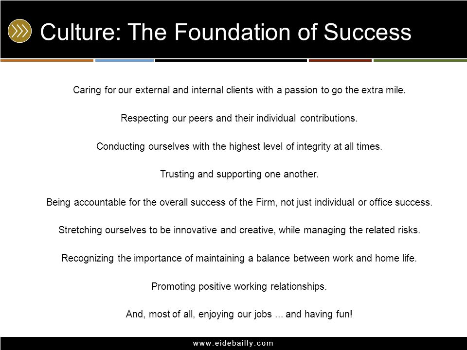 www.eidebailly.com Culture: The Foundation of Success Caring for our external and internal clients with a passion to go the extra mile.