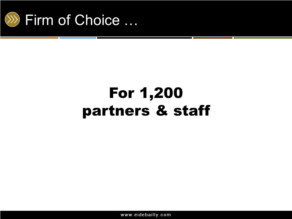 www.eidebailly.com Firm of Choice … For 1,200 partners & staff