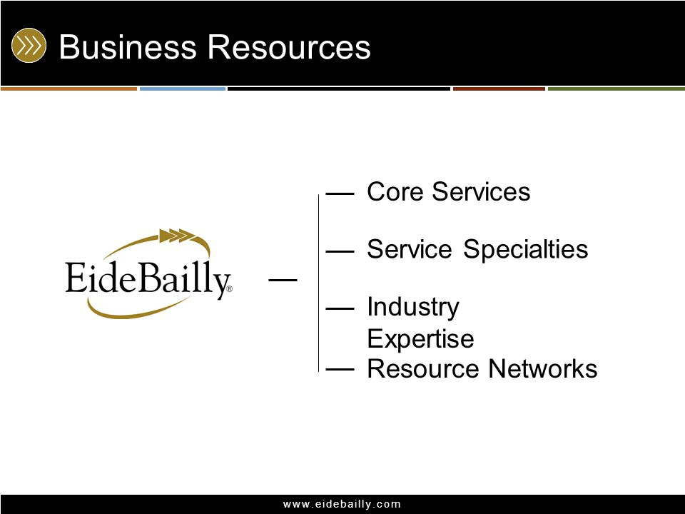 www.eidebailly.com Business Resources Service Specialties Resource Networks Industry Expertise Core Services