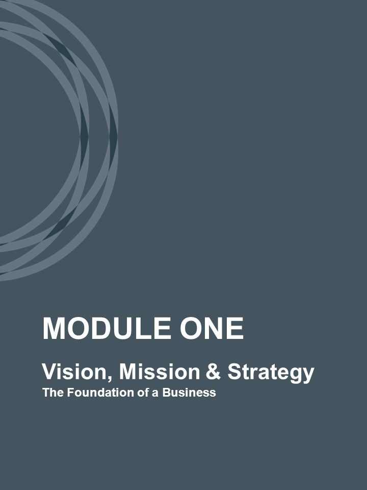 Vision, Mission & Strategy The Foundation of a Business MODULE ONE