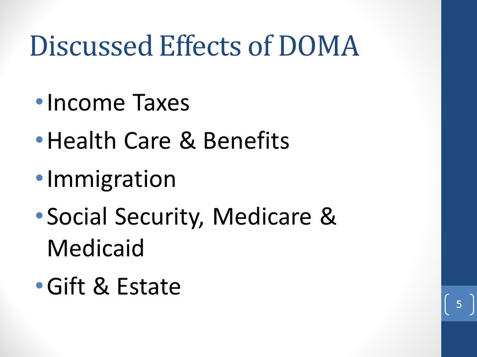 Discussed Effects of DOMA Income Taxes Health Care & Benefits Immigration Social Security, Medicare & Medicaid Gift & Estate 5