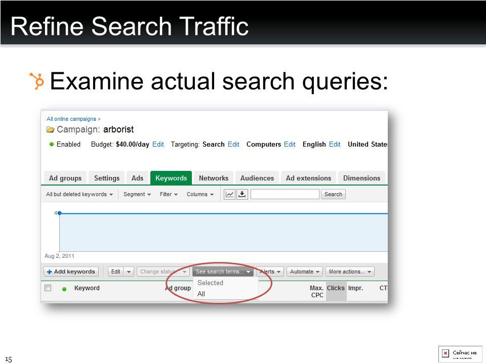Refine Search Traffic Examine actual search queries: 15