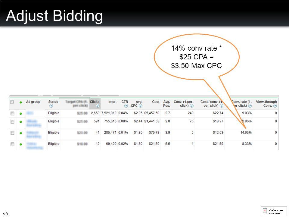 Adjust Bidding 26 14% conv rate * $25 CPA = $3.50 Max CPC