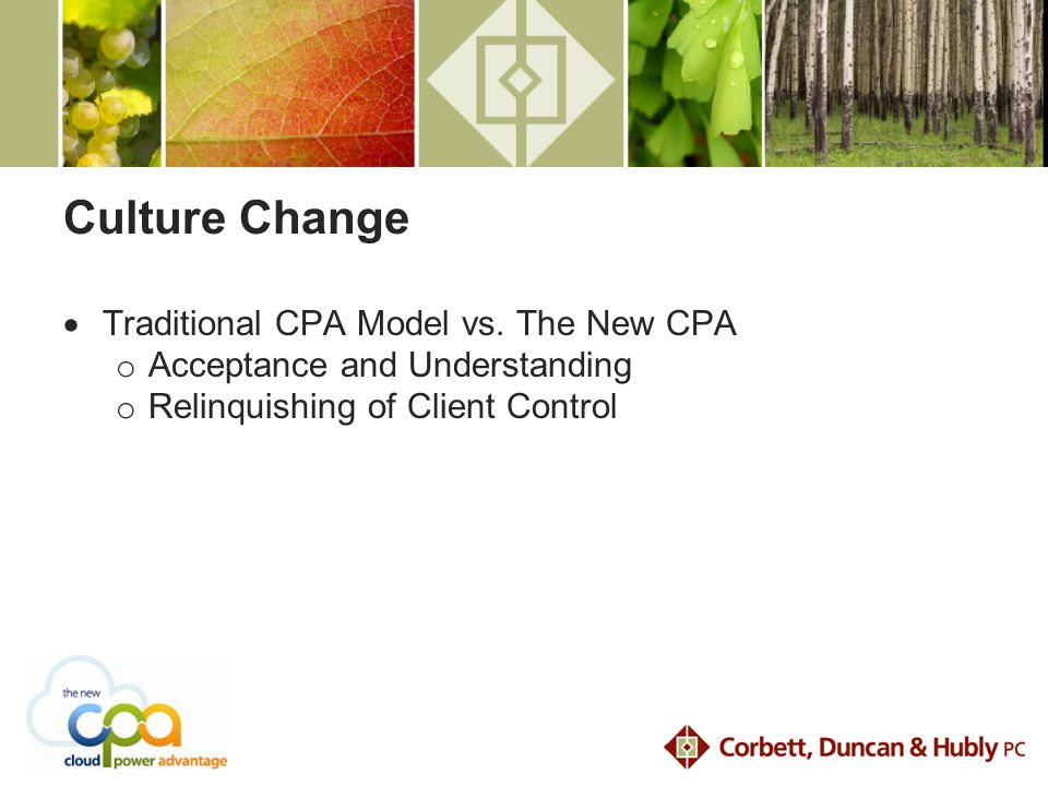 Culture Change  Traditional CPA Model vs.