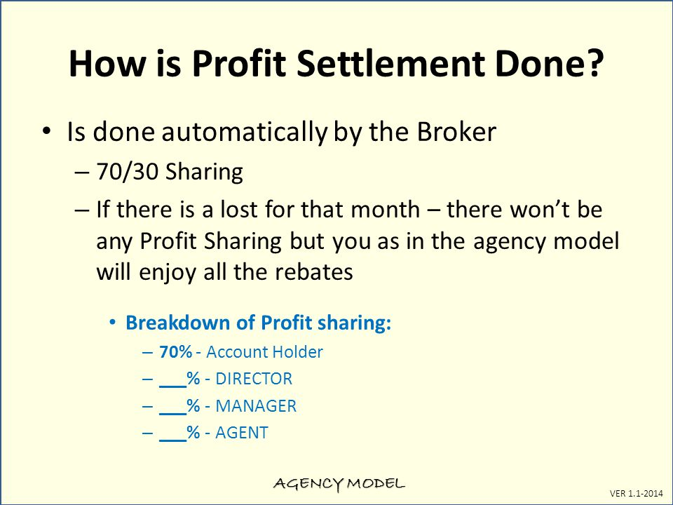AGENCY MODEL VER 1.1-2014 How is Profit Settlement Done.