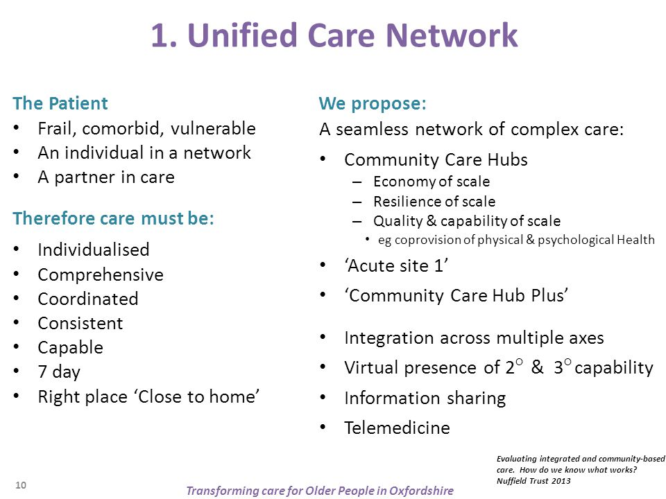 1. Unified Care Network Therefore care must be: Individualised Comprehensive Coordinated Consistent Capable 7 day Right place 'Close to home' We propo