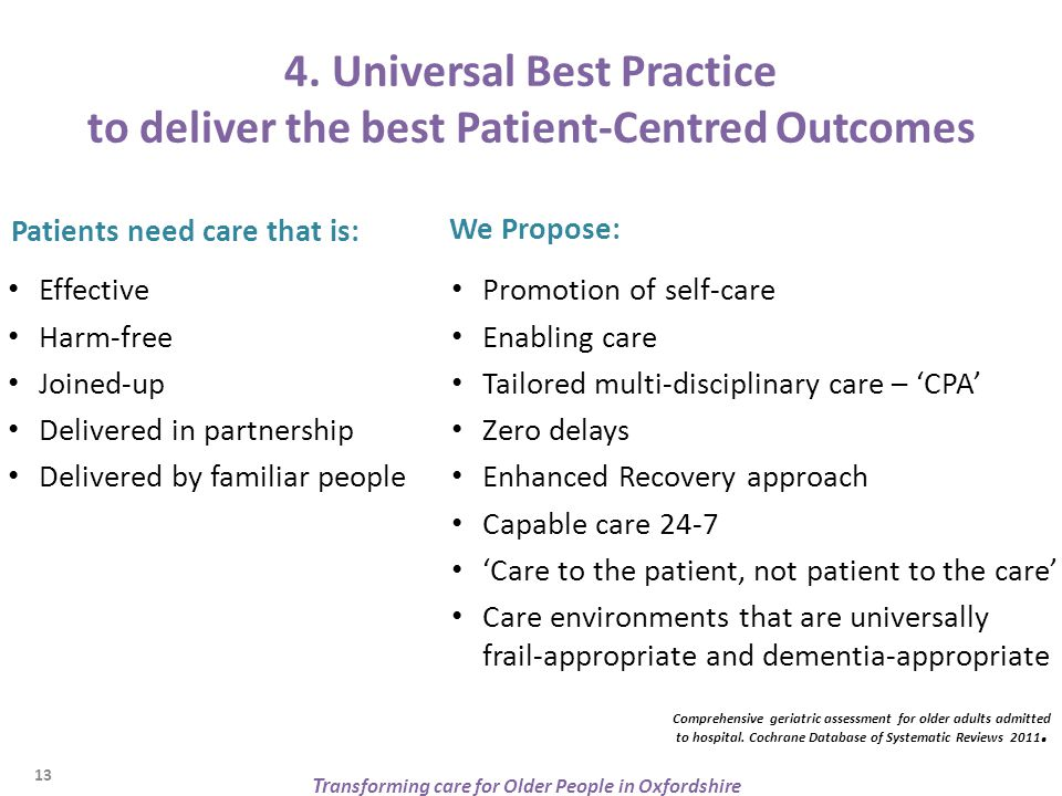 4. Universal Best Practice to deliver the best Patient-Centred Outcomes Patients need care that is: Effective Harm-free Joined-up Delivered in partner