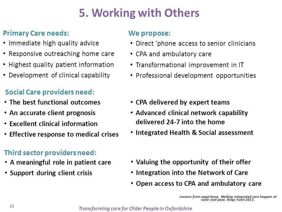 5. Working with Others Primary Care needs: Immediate high quality advice Responsive outreaching home care Highest quality patient information Developm